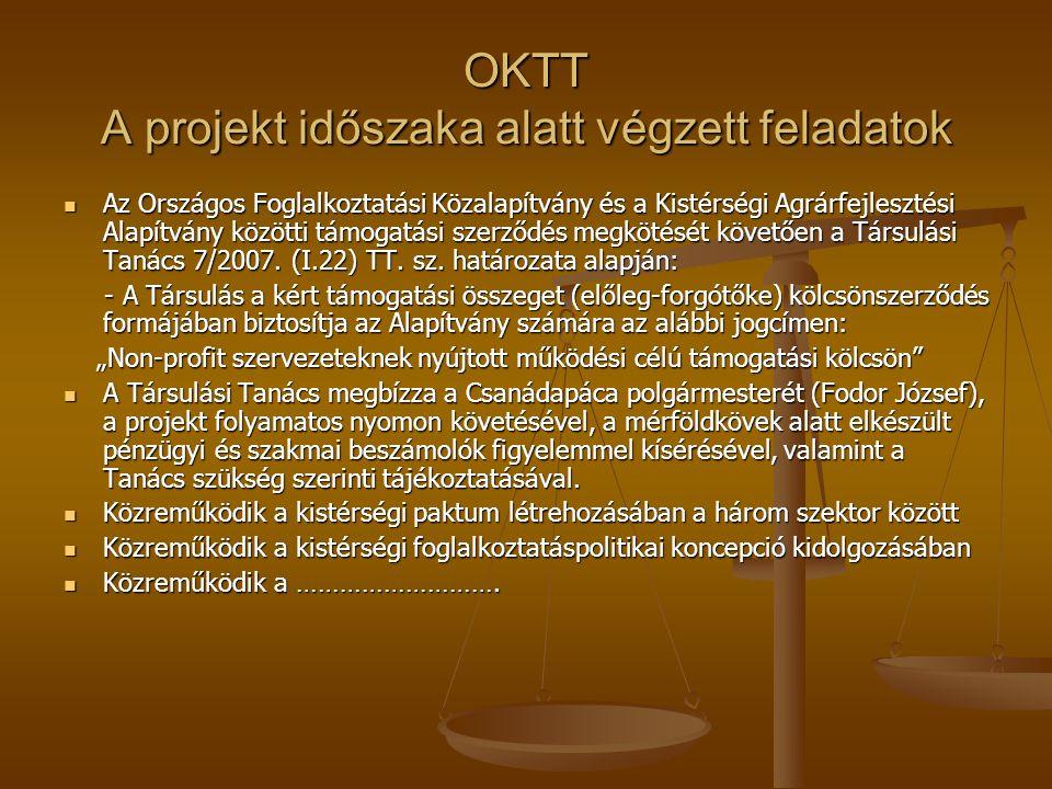 OKTT A projekt időszaka alatt végzett feladatok Az Országos Foglalkoztatási Közalapítvány és a Kistérségi Agrárfejlesztési Alapítvány közötti támogatási szerződés megkötését követően a Társulási Tanács 7/2007.
