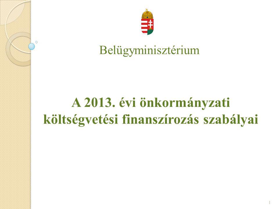 Belügyminisztérium A 2013. évi önkormányzati költségvetési finanszírozás szabályai 1