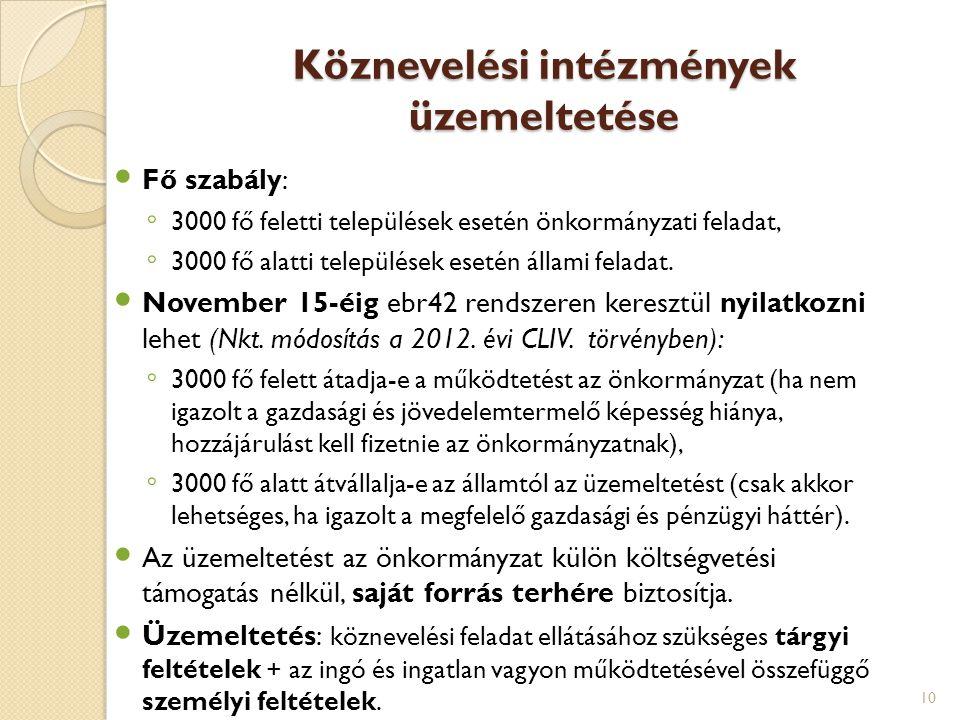 Köznevelési intézmények üzemeltetése Fő szabály: ◦ 3000 fő feletti települések esetén önkormányzati feladat, ◦ 3000 fő alatti települések esetén állam