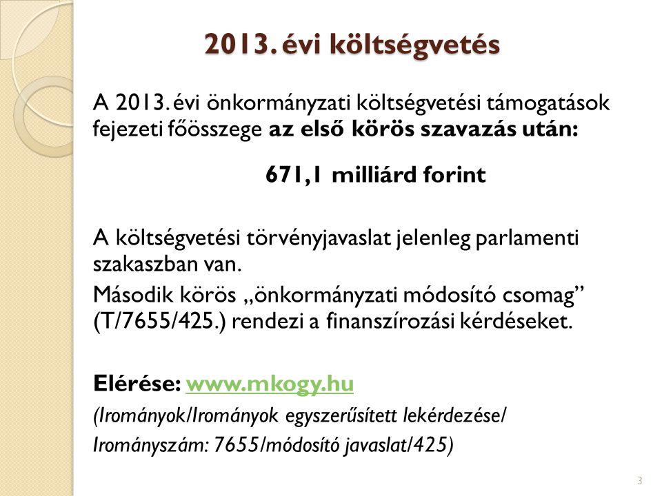 2013. évi költségvetés A 2013. évi önkormányzati költségvetési támogatások fejezeti főösszege az első körös szavazás után: 671,1 milliárd forint A köl