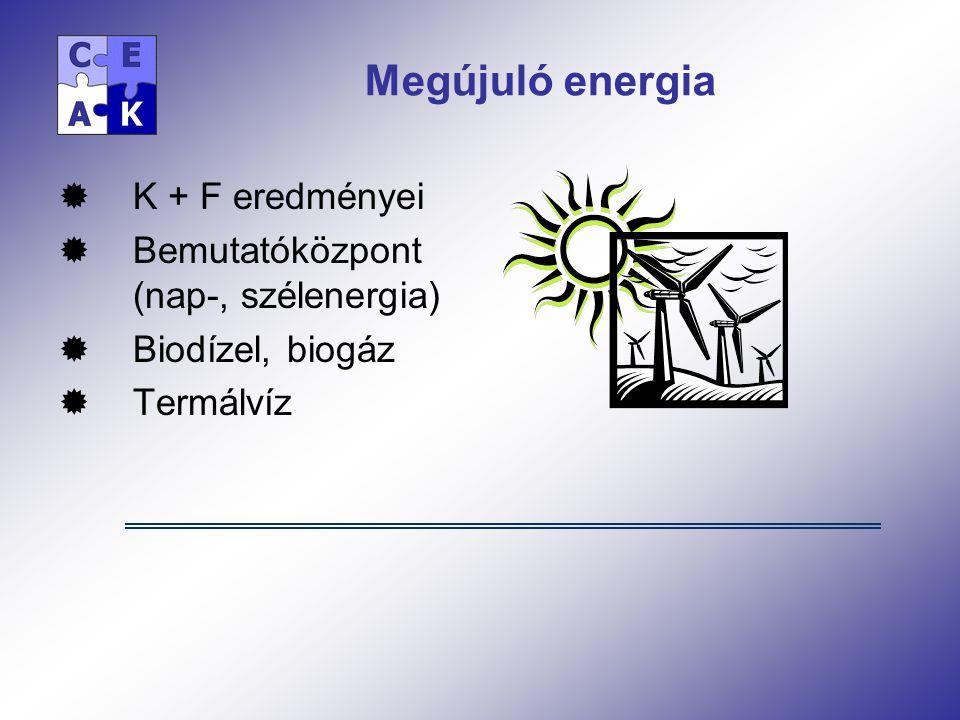Megújuló energia  K + F eredményei  Bemutatóközpont (nap-, szélenergia)  Biodízel, biogáz  Termálvíz