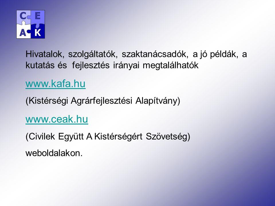 Hivatalok, szolgáltatók, szaktanácsadók, a jó példák, a kutatás és fejlesztés irányai megtalálhatók www.kafa.hu (Kistérségi Agrárfejlesztési Alapítvány) www.ceak.hu (Civilek Együtt A Kistérségért Szövetség) weboldalakon.