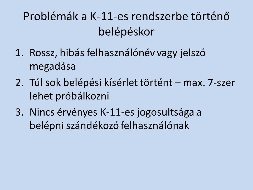 Problémák a K-11-es rendszerbe történő belépéskor 1.Rossz, hibás felhasználónév vagy jelszó megadása 2.Túl sok belépési kísérlet történt – max. 7-szer