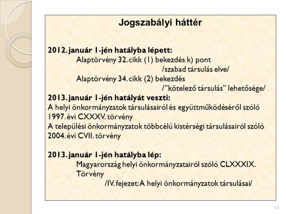12 Jogszabályi háttér 2012. január 1-jén hatályba lépett: Alaptörvény 32. cikk (1) bekezdés k) pont /szabad társulás elve/ Alaptörvény 34. cikk (2) be