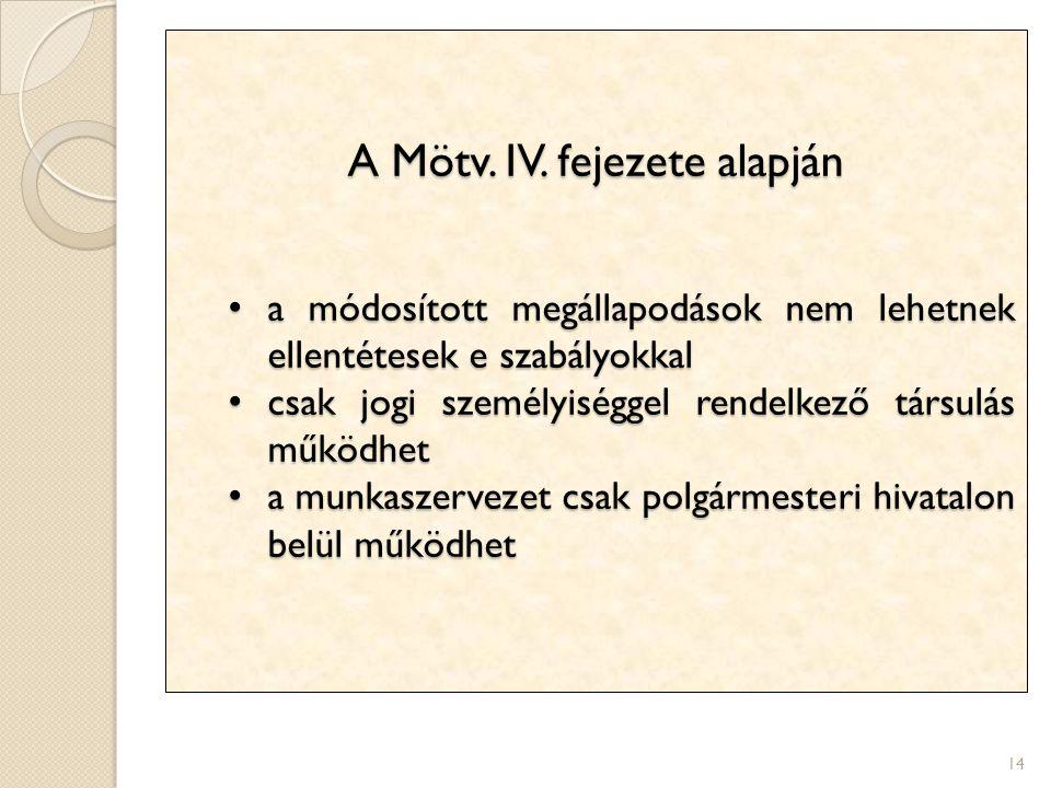 14 A Mötv. IV. fejezete alapján a módosított megállapodások nem lehetnek ellentétesek e szabályokkal a módosított megállapodások nem lehetnek ellentét