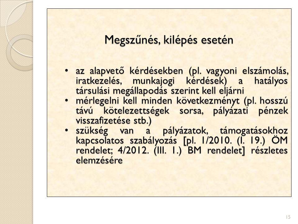 15 Megszűnés, kilépés esetén az alapvető kérdésekben (pl. vagyoni elszámolás, iratkezelés, munkajogi kérdések) a hatályos társulási megállapodás szeri