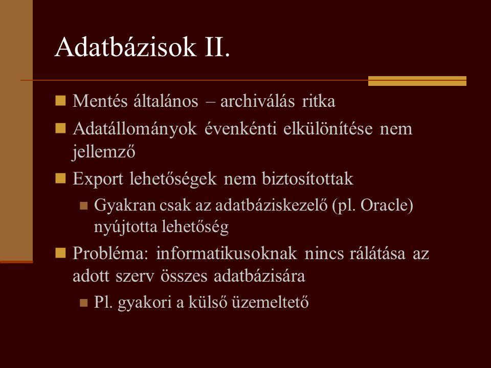 Adatbázisok II.