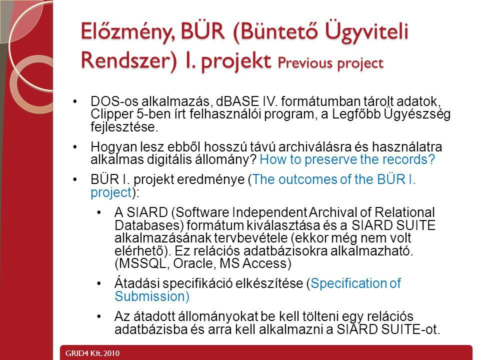 GRID4 Kft. 2010 BÜR II. projekt, AIP -> DIP, SIP -> DIP