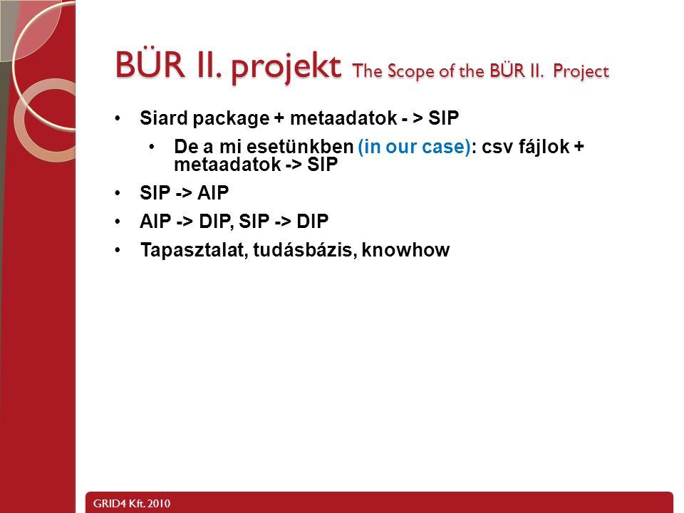 GRID4 Kft. 2010 BÜR II. projekt, CSV fájlok + metaadatok - > SIP
