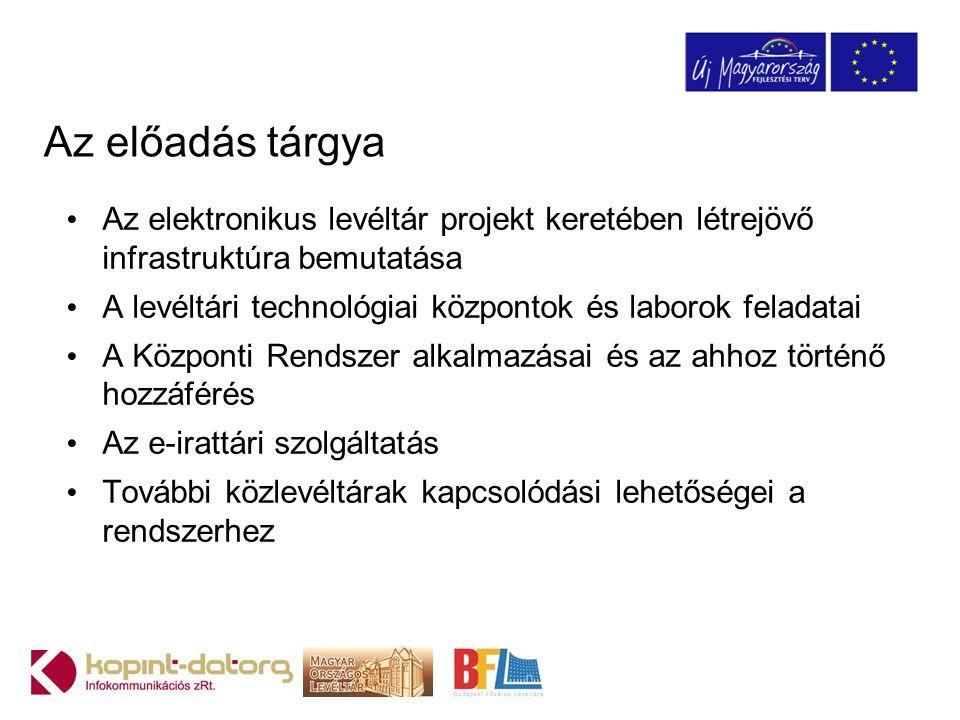 Az előadás tárgya Az elektronikus levéltár projekt keretében létrejövő infrastruktúra bemutatása A levéltári technológiai központok és laborok feladat