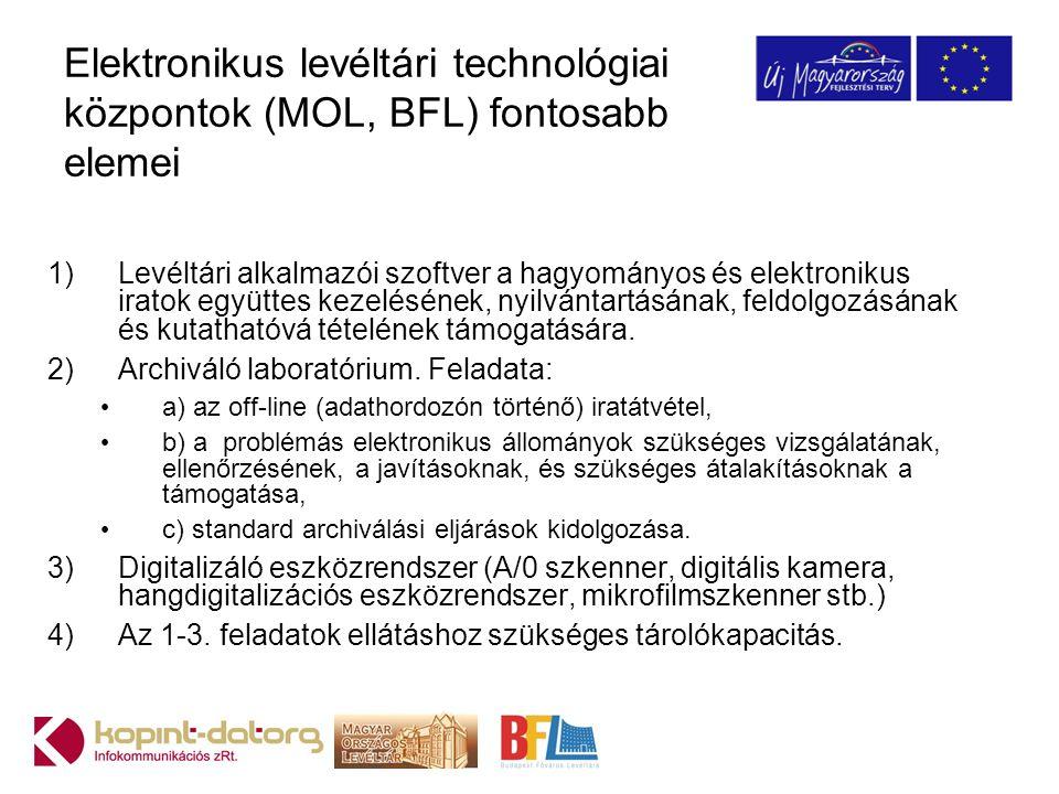 Elektronikus levéltári technológiai központok (MOL, BFL) fontosabb elemei 1)Levéltári alkalmazói szoftver a hagyományos és elektronikus iratok együttes kezelésének, nyilvántartásának, feldolgozásának és kutathatóvá tételének támogatására.