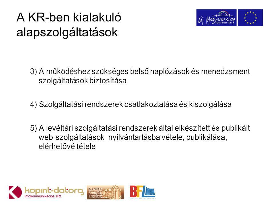 A KR-ben kialakuló alapszolgáltatások 3) A működéshez szükséges belső naplózások és menedzsment szolgáltatások biztosítása 4) Szolgáltatási rendszerek