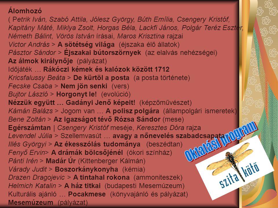 Álomhozó ( Petrik Iván, Szabó Attila, Jólesz György, Búth Emília, Csengery Kristóf, Kapitány Máté, Miklya Zsolt, Horgas Béla, Lackfi János, Polgár Ter