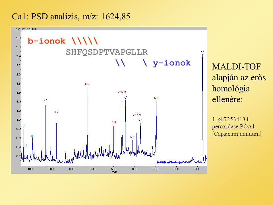 Ca1: PSD analízis, m/z: 1624,85 1.