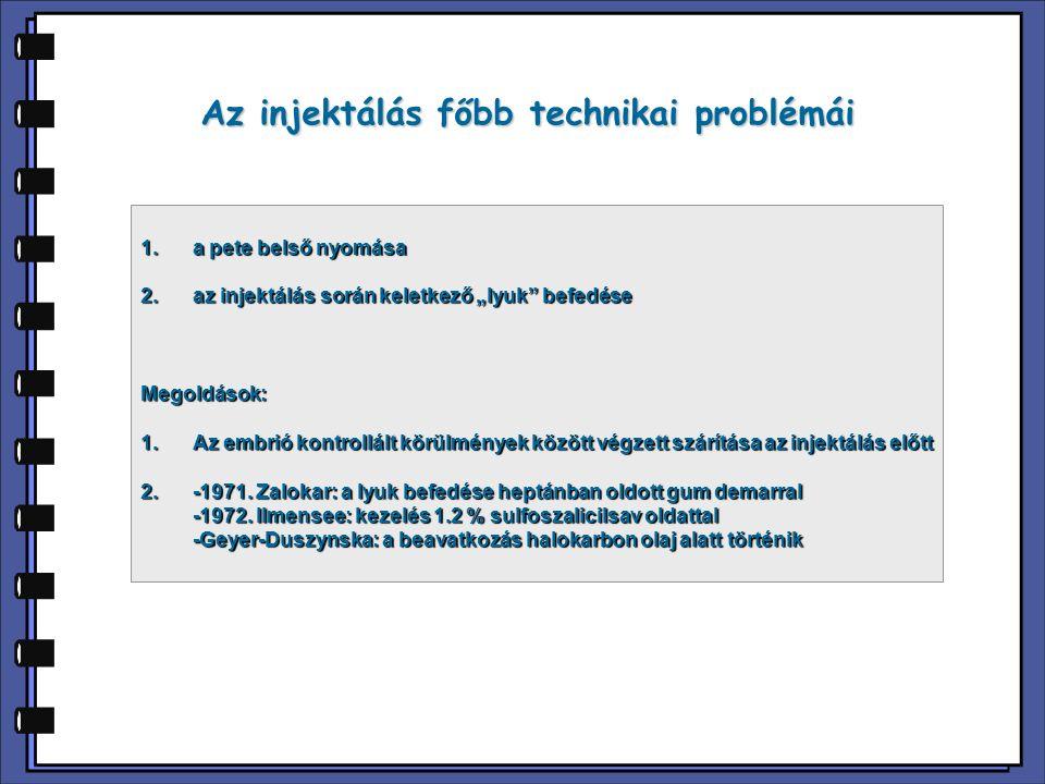"""Az injektálás főbb technikai problémái 1.a pete belső nyomása 2. az injektálás során keletkező """"lyuk"""" befedése Megoldások: 1.Az embrió kontrollált kör"""