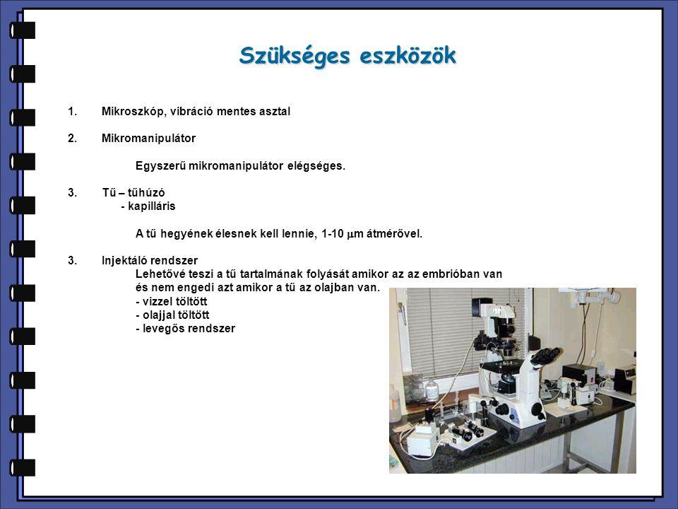 Szükséges eszközök 1.Mikroszkóp, vibráció mentes asztal 2.Mikromanipulátor Egyszerű mikromanipulátor elégséges. 3.Tű – tűhúzó - kapilláris A tű hegyén