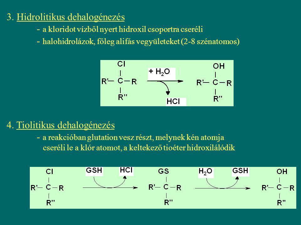 3. Hidrolitikus dehalogénezés - a kloridot vízből nyert hidroxil csoportra cseréli - halohidrolázok, főleg alifás vegyületeket (2-8 szénatomos) 4. Tio