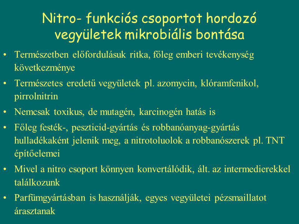 Nitro- funkciós csoportot hordozó vegyületek mikrobiális bontása Természetben előfordulásuk ritka, főleg emberi tevékenység következménye Természetes