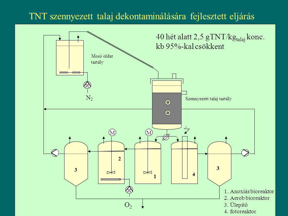 TNT szennyezett talaj dekontaminálására fejlesztett eljárás  N2N2 O2O2  MM Mosó oldat tartály Szennyezett talaj tartály 1 2 3 4 3 1.Anoxiás bioreakt
