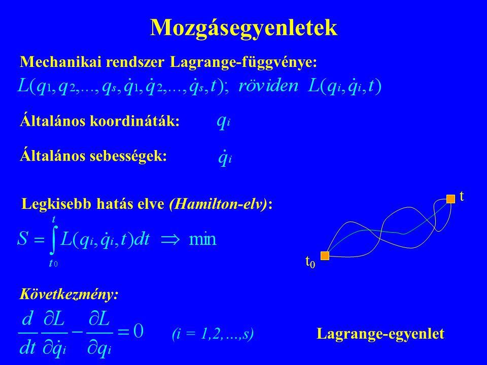 Mozgásegyenletek Legkisebb hatás elve (Hamilton-elv): t0t0 t Mechanikai rendszer Lagrange-függvénye: Következmény: (i = 1,2,…,s) Általános koordináták