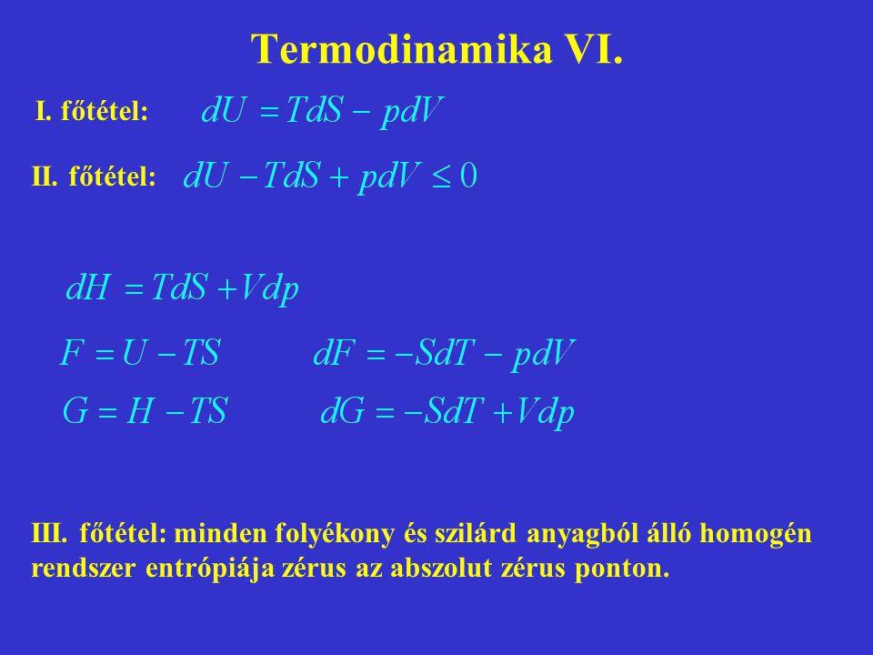 Termodinamika VI. I. főtétel: II. főtétel: III. főtétel: minden folyékony és szilárd anyagból álló homogén rendszer entrópiája zérus az abszolut zérus