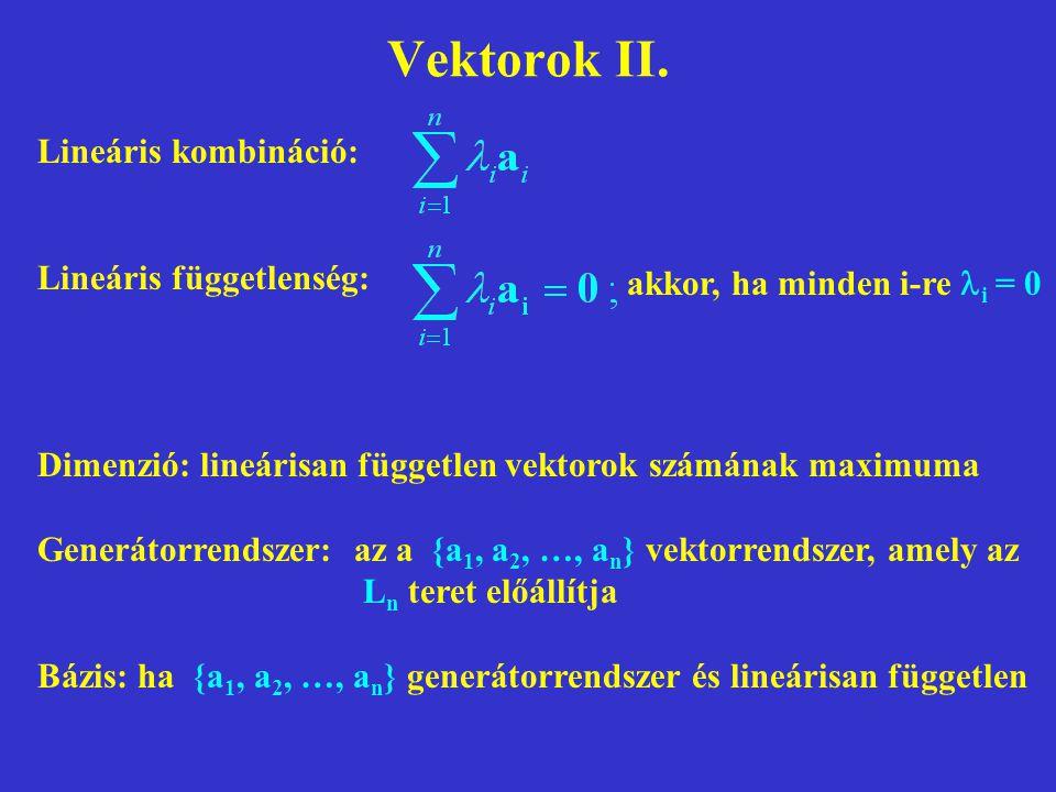 Vektorok II. Lineáris kombináció: Lineáris függetlenség: akkor, ha minden i-re i = 0 Dimenzió: lineárisan független vektorok számának maximuma Generát