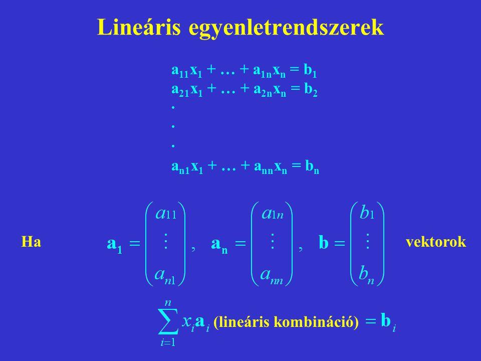 Lineáris egyenletrendszerek a 11 x 1 + … + a 1n x n = b 1 a 21 x 1 + … + a 2n x n = b 2 · a n1 x 1 + … + a nn x n = b n Havektorok (lineáris kombináció)