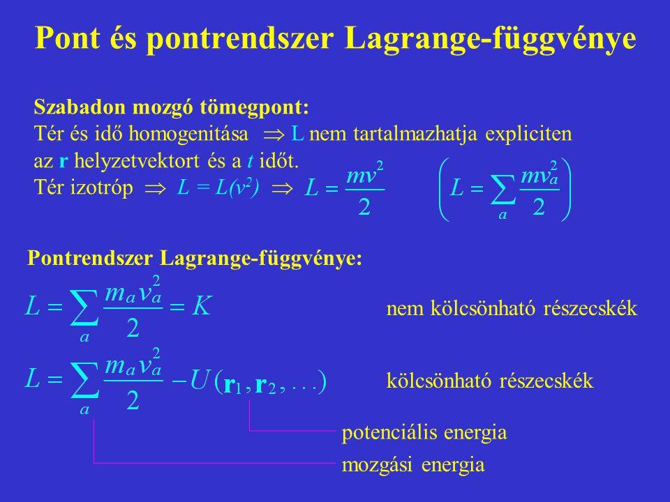 Pont és pontrendszer Lagrange-függvénye Szabadon mozgó tömegpont: Tér és idő homogenitása  L nem tartalmazhatja expliciten az r helyzetvektort és a t időt.