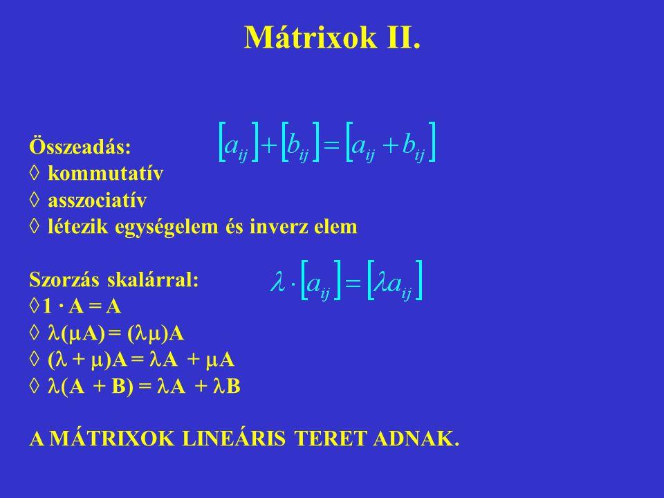 Mátrixok II. Összeadás:  kommutatív  asszociatív  létezik egységelem és inverz elem Szorzás skalárral:  1 · A = A  (  A) = (  A  (  +  )A =