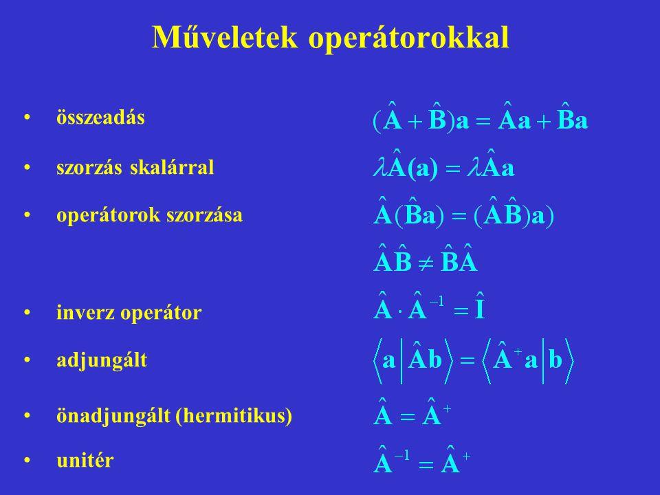 Műveletek operátorokkal összeadás szorzás skalárral operátorok szorzása inverz operátor adjungált önadjungált (hermitikus) unitér