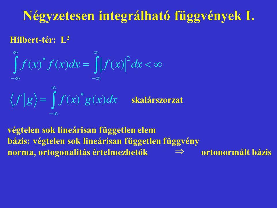 Négyzetesen integrálható függvények I. skalárszorzat Hilbert-tér: L 2 végtelen sok lineárisan független elem bázis: végtelen sok lineárisan független