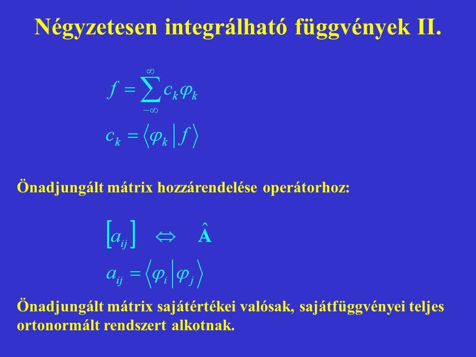 Négyzetesen integrálható függvények II. Önadjungált mátrix hozzárendelése operátorhoz: Önadjungált mátrix sajátértékei valósak, sajátfüggvényei teljes