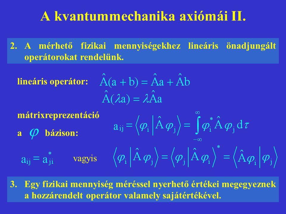 A kvantummechanika axiómái II. 2.A mérhető fizikai mennyiségekhez lineáris önadjungált operátorokat rendelünk. lineáris operátor: mátrixreprezentáció