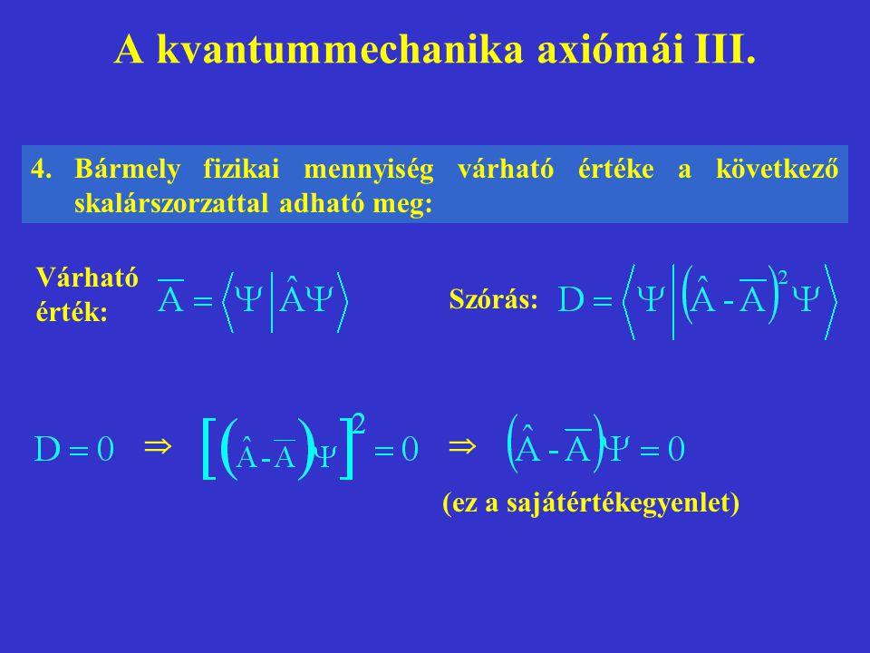 A kvantummechanika axiómái III. 4.Bármely fizikai mennyiség várható értéke a következő skalárszorzattal adható meg:  Várható érték: (ez a sajátérték
