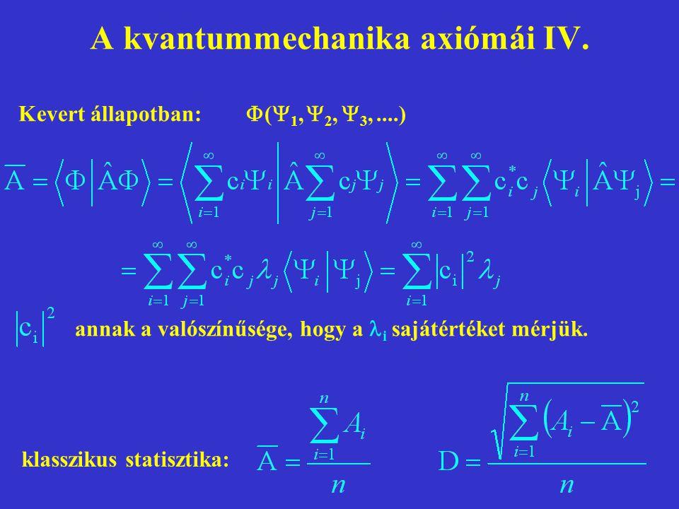 A kvantummechanika axiómái IV. klasszikus statisztika: annak a valószínűsége, hogy a i sajátértéket mérjük. Kevert állapotban:  (  1,  2,  3,....)