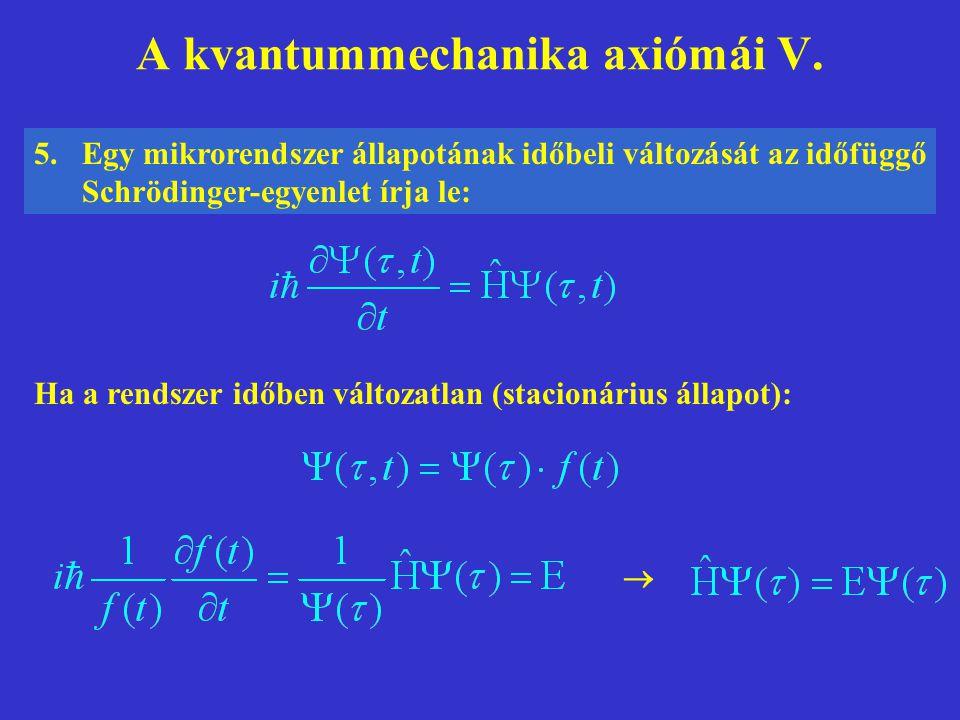A kvantummechanika axiómái V. 5.Egy mikrorendszer állapotának időbeli változását az időfüggő Schrödinger-egyenlet írja le: Ha a rendszer időben változ