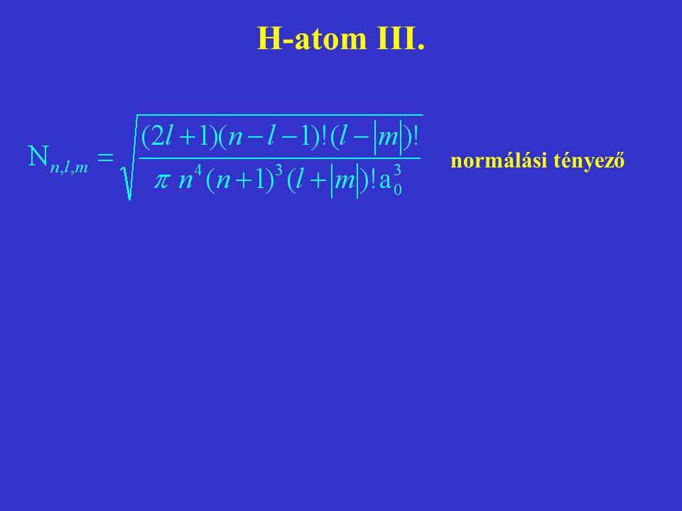 H-atom III. normálási tényező