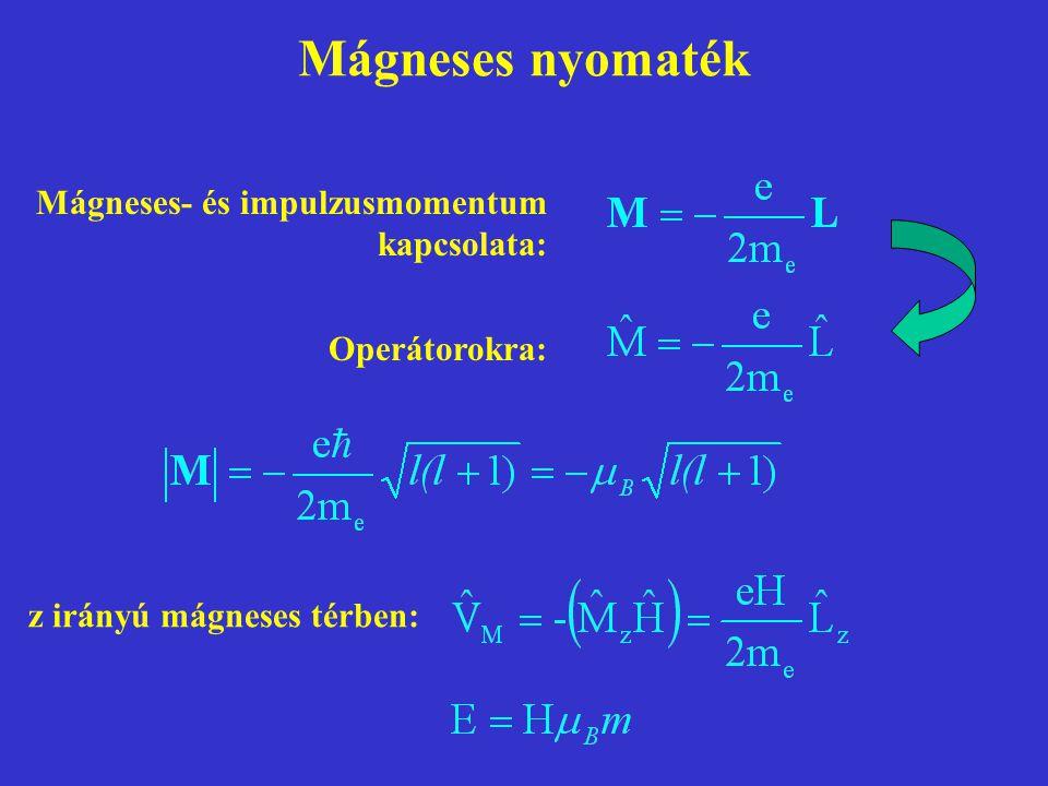 Mágneses nyomaték z irányú mágneses térben: Mágneses- és impulzusmomentum kapcsolata: Operátorokra: