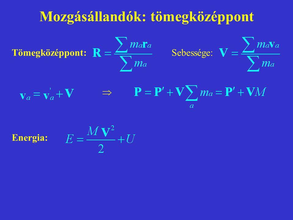 Mozgásállandók: impulzusmomentum Impulzusmomentum: Függés a koordináta-rendszertől: Függés a rendszer sebességétől: (csak akkor nem függ, ha a rendszer nyugalomban van: P = 0)