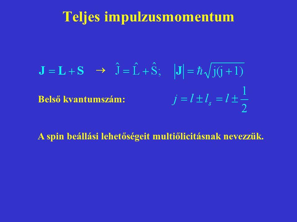 Teljes impulzusmomentum Belső kvantumszám:  A spin beállási lehetőségeit multiőlicitásnak nevezzük.