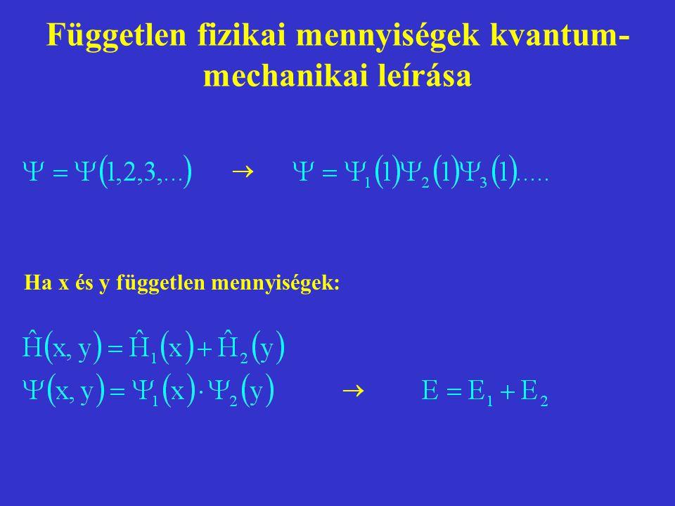 Független fizikai mennyiségek kvantum- mechanikai leírása   Ha x és y független mennyiségek: