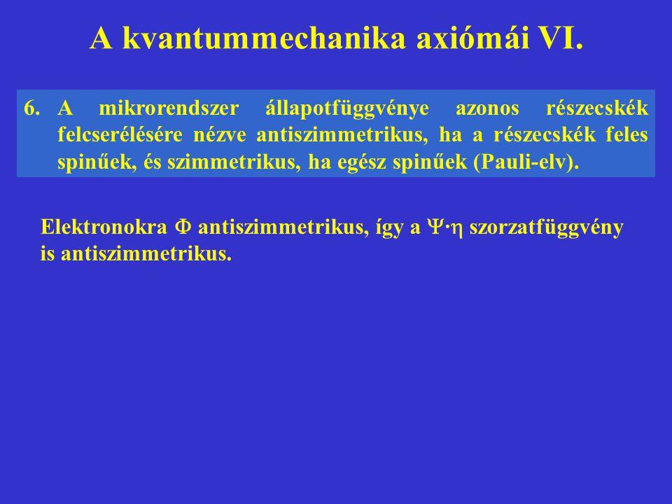 A kvantummechanika axiómái VI. 6.A mikrorendszer állapotfüggvénye azonos részecskék felcserélésére nézve antiszimmetrikus, ha a részecskék feles spinű
