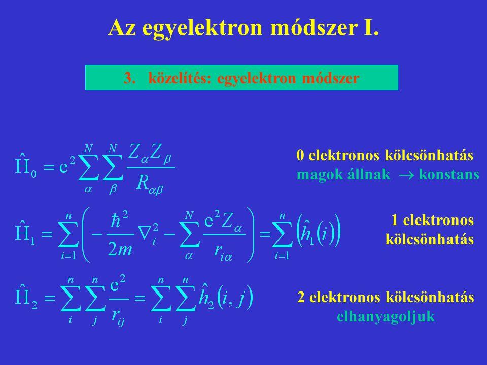 Az egyelektron módszer I. 3.közelítés: egyelektron módszer 0 elektronos kölcsönhatás magok állnak  konstans 1 elektronos kölcsönhatás 2 elektronos kö