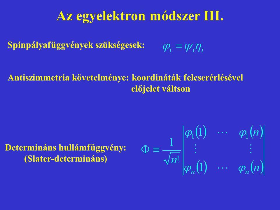 Az egyelektron módszer III. Spinpályafüggvények szükségesek: Antiszimmetria követelménye: koordináták felcserérlésével előjelet váltson Determináns hu