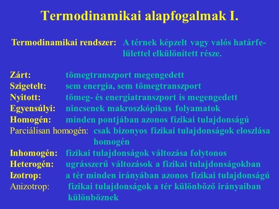Termodinamikai alapfogalmak I. Termodinamikai rendszer:A térnek képzelt vagy valós határfe- lülettel elkülönített része. Zárt:tömegtranszport megenged