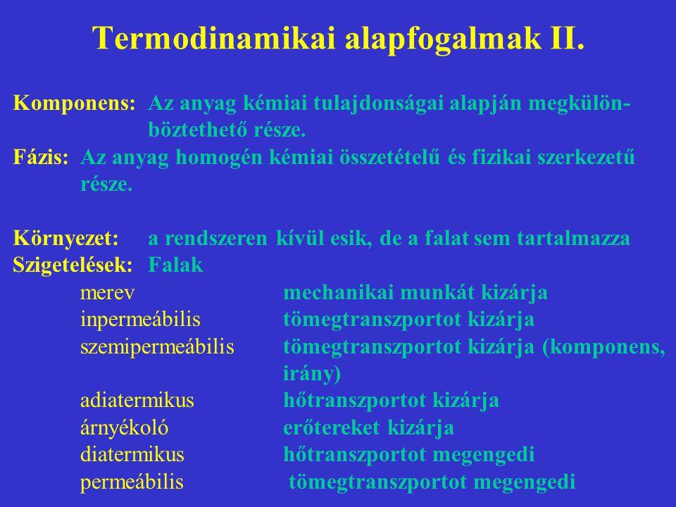 Termodinamikai alapfogalmak II. Komponens:Az anyag kémiai tulajdonságai alapján megkülön- böztethető része. Fázis:Az anyag homogén kémiai összetételű