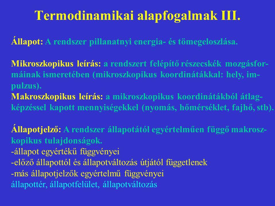 Termodinamikai alapfogalmak III. Állapot: A rendszer pillanatnyi energia- és tömegeloszlása. Mikroszkopikus leírás: a rendszert felépítő részecskék mo