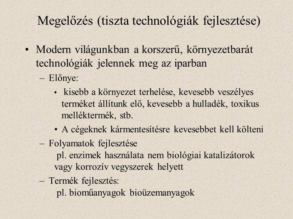 Megelőzés (tiszta technológiák fejlesztése) Modern világunkban a korszerű, környezetbarát technológiák jelennek meg az iparban –Előnye: kisebb a körny
