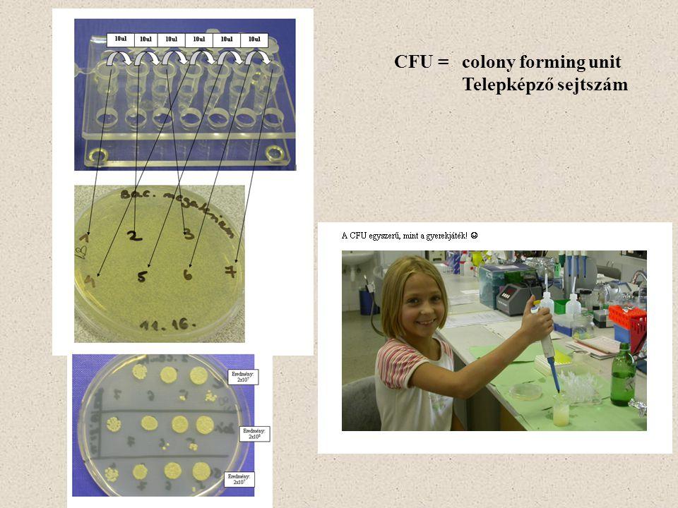 CFU = colony forming unit Telepképző sejtszám