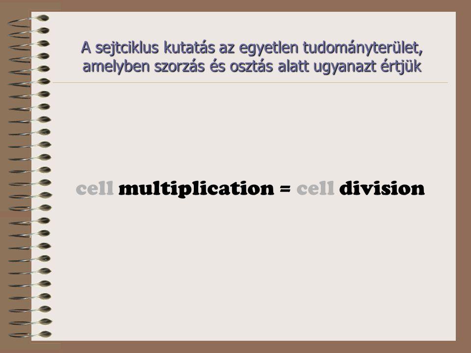 A sejtciklus kutatás az egyetlen tudományterület, amelyben szorzás és osztás alatt ugyanazt értjük cell multiplication = cell division
